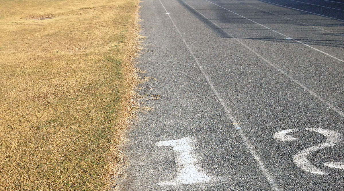 Running track and field on bare asphalt!?